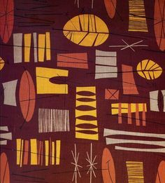 1950s textile design by HENRY MOORE - probably produced by Zika ...