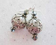 Bali Swirls Sterling and Crystals Earrings by ksodesign on Etsy, $25.00