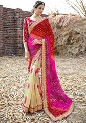 Red & Pink Color Georgette Festival & Function Wear Sarees : Selina Collection  YF-43384
