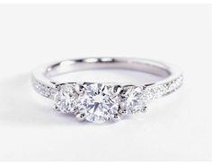 Three Stone Pavé Diamond Engagement Ring in Platinum (2/3 ct. tw.)