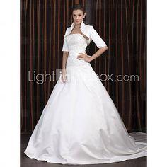 [USD $ 239.99] A-line Spaghetti Straps Chapel Train Satin Wedding Dress with A Wrap