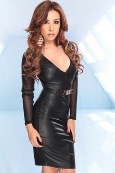 - BLACK MATTE FAUX PLEATHER MESH SLEEVES DEEP V NECK SHEATH DRESS WITH PLATED BELT