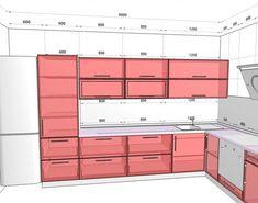 Small L-shaped kitchen layout Kitchen Cabinet Dimensions, Kitchen Cabinet Sizes, Kitchen Size, Kitchen Room Design, Kitchen Cabinet Design, Interior Design Living Room, Kitchen Layout U Shaped, Small L Shaped Kitchens, Kitchen Layout Plans