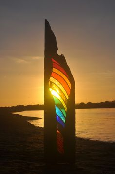 driftwood and stained glass sculpture by Louise Durham