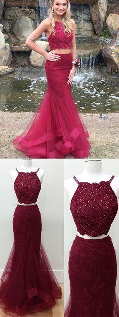 70e1864c4061 gorgeous prom dress, 2018 prom dress, two piece long prom dress, burgundy  mermaid