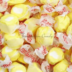 """Yummy yellow taffy from Temptation Candy! Your mouth will only utter two words: """"More Please!"""""""