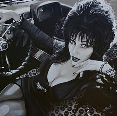 Title: Mistress of the Dark Artist: Mike Bell Elvira lounging in a vintage convertible. Her eyes are darkly outlined and she wears many bracelets. New Jersey native Mike Bell is a true lowbrow artist. Cassandra Peterson, Horror Movie Tattoos, Horror Movies, Divas, Stretched Canvas Prints, Canvas Art Prints, Cyberpunk, Elvira Movies, Mike Bell