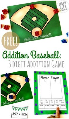 Need to work on adding large numbers? This baseball themed 3-digit addition game is such a fun way to practice skills, work on mental math or just get out of the normal routine. Perfect for your game time math center!  #addition  #math  #homeschool #mathgame