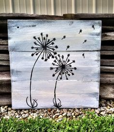 Dandelion Decor Black and White Sign Pallet by CharmingWillows, $35.00