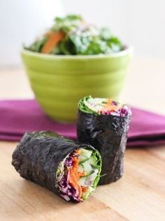 Veggie-Packed Nori Wraps - Loaded with all sorts of fresh veggies, these nori wraps make a delicious lunch or snack and can be customized for whatever ingredients you have on hand. Raw Vegan Recipes, Vegan Foods, Veggie Recipes, Vegetarian Recipes, Healthy Recipes, Vegetarian Sandwiches, Going Vegetarian, Sushi Recipes, Vegetarian Breakfast