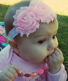 Pink Flower Headbands, Shabby Headbands, Baby Headbands, Infant Headbands, Newborn Headbands, Girls Headbands via Etsy