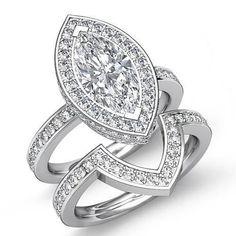 Marquise Diamond Pave Engagement EGL F SI1 14k White Gold Bridal Set Ring 2 8 Ct   eBay