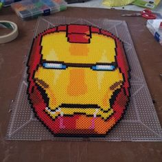 Iron Man mask perler beads by theinfamousbigd