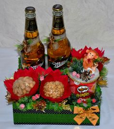 Christmas Candy Gifts, Crate Crafts, Gift Baskets, Flower Art, Projects To Try, Bouquet, Xmas, Gift Wrapping, Valentines