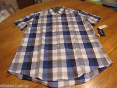 Men's Tommy Hilfiger shirt small S slim fit button up blue plaid 434 7810745 NEW