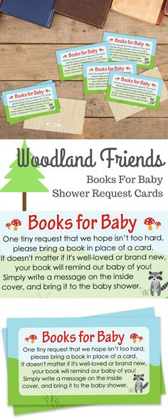 TheseWoodland AnimalsThemedBaby Books Request Cards are perfect tosend with invitationsfor your Outdoor Baby Shower, Boy Baby Shower, or Gender Neutral Baby Shower. #babyshowergame #woodlandbabyshower #woodlandanimals