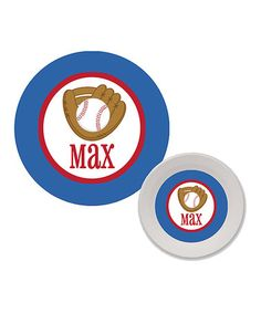 Another great find on #zulily! Baseball Personalized Plate & Cereal Bowl Set #zulilyfinds