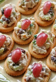 Almond Chicken Salad on Town House crackers make a fun appetizer for gatherings and get togethers.