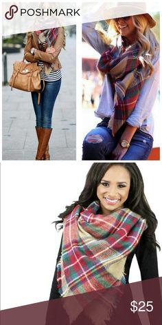 "💖Beige Blanket Scarf💖 Plaid Blanket Scarf. 70% Acrylic  30% Wool. 55"" X 55"" Length. Accessories Scarves & Wraps"