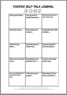 Positive Self-Talk Journal Free Printable - Moments A Day # self esteem activities for kids Positive Self-Talk Journal Free Printable - Moments A Day Self Esteem Worksheets, Self Esteem Activities, Therapy Worksheets, Counseling Activities, School Counseling, Self Esteem Crafts, Social Work Activities, Coping Skills Activities, Group Therapy Activities