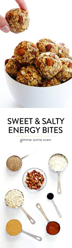 Sweet and Salty Energy Bites -- quick and easy to make, packed with protein, and irresistibly delicious!  Perfect for a snack, easy breakfast, or healthier dessert. | gimmesomeoven.com