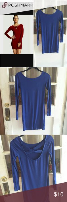 Forever 21 crisscross bodycon dress Sexy Cobalt blue long sleeve bodycon mini dress scoop with crisscross detail in the back 31 inches long Forever 21 Dresses Mini