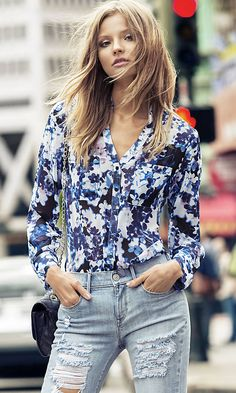 Classic shirt style meets a bright floral. #StreetChic