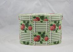 Hannah's Treasures Vintage Wallpaper Bandbox ( Collar Box)  Raspberries on Green lattice Hat Box