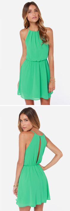 Up to something green dress in 2019 pro cheek vestidos, vest Sweet 16 Dresses, Cute Dresses, Beautiful Dresses, Casual Dresses, Short Dresses, Summer Dresses, Halter Dress Casual, Halter Dresses, Evening Gowns