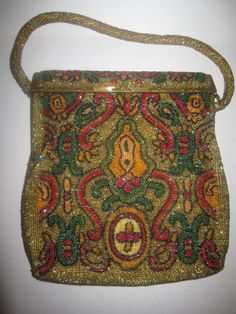 Exquisite Francis Hirsch Beaded Art Deco Evening Bag in Gold Red Green | eBay