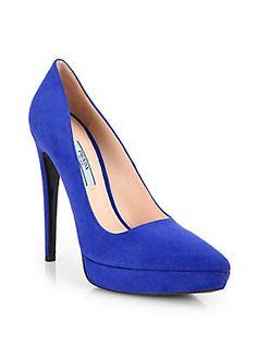 Dream Wedding Shoes - Bluette Prada Suede Platform Pumps... In Size 38.5