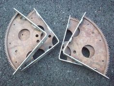Two Sets of Flywheel Gear Shelf Brackets by ScrapyardArt on Etsy