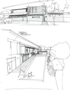Concept Sketch from Lines on Paper. Architecture Panel, Architecture Drawings, Architecture Portfolio, Concept Architecture, School Architecture, Architecture Details, Landscape Sketch, Landscape Plans, Landscape Drawings