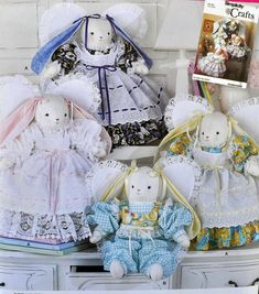 Simplicity 2595 / 7044 - Cute Country Bunny Rabbit Dolls w/ Clothes - Angel Rabbits - Shabby Chic, Kawaii, Soft Sculpture, Baby Shower Simplicity Sewing Patterns, Vintage Sewing Patterns, Clothing Patterns, Sewing Ideas, Doll Crafts, Sewing Crafts, Ship Craft, Bunny Outfit, Cute N Country