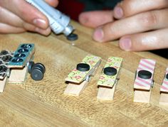 Tutorial for Making Decorative Washi Tape Clothespin Magnets for your Fridge