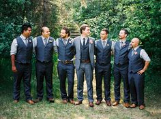 Wedding Suits blue and grey groomsmen outfits. vests only. brown and blue groomsmen suits Groomsmen Attire Grey, Groomsmen Outfits, Bridesmaids And Groomsmen, Groomsman Attire, Groom Attire, Navy Blue Groomsmen, Mismatched Groomsmen, Navy Vest, Dream Wedding