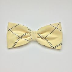 Bow tie Yellow Plaid Clip-On Pre Tied Cotton Groomsmen Groom Adult Men Teen Boy Baby Kid Party Gift Wedding Birthday Gift for him by GloiberryBowtie on Etsy https://www.etsy.com/uk/listing/273491846/bow-tie-yellow-plaid-clip-on-pre-tied