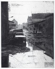 Mikael Kihlman, Very wet street, drypoint, 49,5x40 cm, 1996