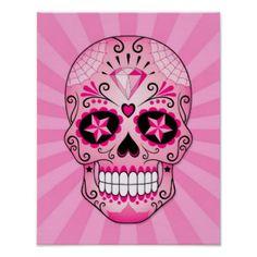 Pink Diamond Sugar Skull Poster