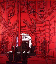 Patrick Caulfield - Forecourt (1975). Acrylic on canvas