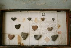 heart rocks wall art-We all collect heart rocks while on vac together-what fun!
