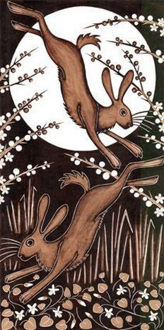 March Hares, 2013 Woodcut Art Print by Nat Morley. All prints are professionally printed, packaged, and shipped within 3 - 4 business days. Choose from multiple sizes and hundreds of frame and mat options. Art And Illustration, Illustrations, Watercolour Illustration, Woodcut Art, Year Of The Rabbit, March Hare, Into The Fire, Rabbit Art, Bunny Art