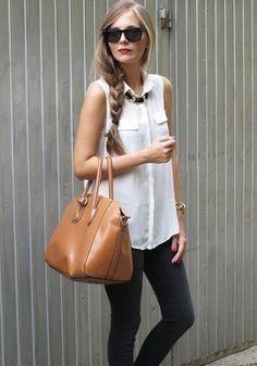 White Plain Studded Turndown Collar Sleeveless Chiffon Blouse