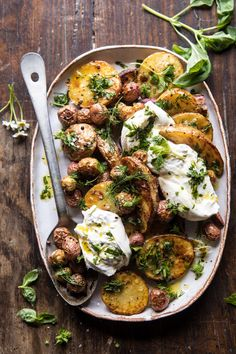 Roasted Mixed Potatoes with Spring Herbs and Burrata | halfbakedharvest.com #spring #recipes #brunch via @hbharvest