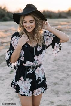 Forever 21 Contemporary - A woven romper featuring an allover floral print, surplice front, button keyhole back, short bell sleeves, elasticized waist, and a ruffle trim.