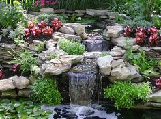 The Best Stone Waterfalls Backyard Ideas – Pool Landscape Ideas Backyard Stream, Backyard Water Feature, Ponds Backyard, Garden Waterfall, Small Waterfall, Goldfish Pond, Pond Landscaping, Pond Plants, Water Pond