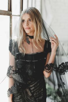 Black Goth Chantilly Lace Cathedral Veil #1702 Wedding Bridesmaid Dresses, Wedding Veil, Drop Veil, Black Goth, Black Veil, Chantilly Lace, Beautiful Bride, Beautiful Women, Photos