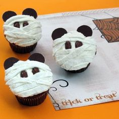 These Mickey Mummy Cupcakes have lots of Disney cuteness and Halloween sweetness wrapped inside! http://spoonful.com/recipes/mickey-mummy-cupcakes #Disney #cupcakes for #Halloween #TickorTreat.