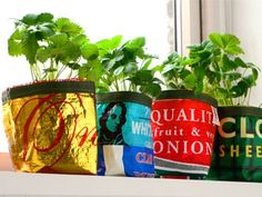 Plant pot holders made from recycled vegetable sacks. Can be used indoors or outdoors and are a lovely way to brighten up any kitchen windowsill or patio. Handmade in the UK. £6 each. http://ecoutlet.co.uk/recycled-plant-pot-holders.html