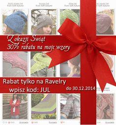 Z okazji Swiąt daję w prezencie rabat 30% na wszystkie moje wzory na Ravelry. Wpisz kod: JUL